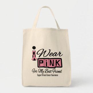 Jag ha på sig rosa (den Retro) bröstcancerbästa vä Tote Bags