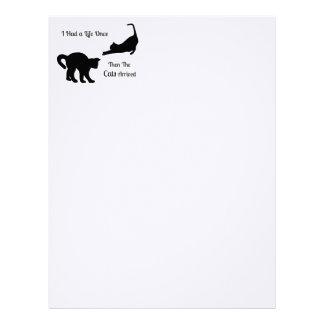 Jag hade ett liv när hövdat papper för kattbrev brevhuvud