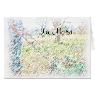 Jag har flyttat färgpennan LawnMowing NoteCard OBS Kort