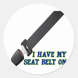 Jag har på min säkerhetsbälte runt klistermärke