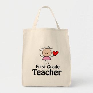 Jag hjärta graderar först lärare mat tygkasse
