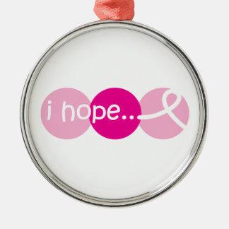 Jag hoppas - bröstcancermedvetenhetprydnaden julgransprydnad metall