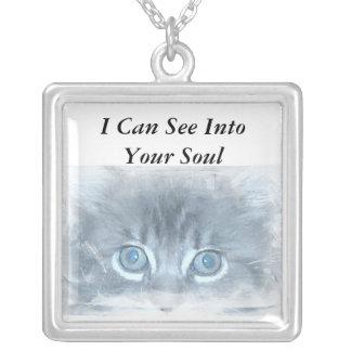 Jag kan se in i din Soul - katthalsband Silverpläterat Halsband