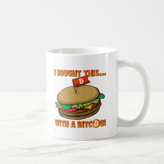 Jag köpte denna hamburgare med en Bitcoin mugg