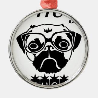 Jag kramar skjortan för gåva t för hundmopshusdjur julgransprydnad metall