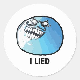 Jag låg ursinneansikte Meme Runda Klistermärken