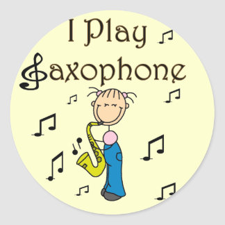 Jag leker saxofonT-tröja och gåvor Rund Klistermärke