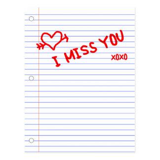 jag missa dig anteckningsbokpapper vykort