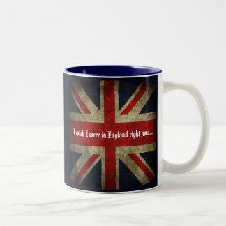 Jag önskar att jag var i brittisk flagga England Två-Tonad Mugg