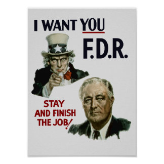 Jag önskar dig FDR -- Uncle Sam WWII Poster