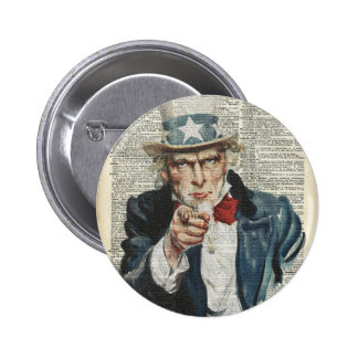 Jag önskar dig Uncle Sam Standard Knapp Rund 5.7 Cm
