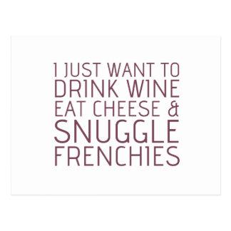 Jag önskar precis - vin & Frenchies Vykort