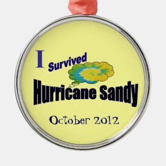 Jag överlevde den sandiga prydnaden för orkanen julgransprydnad metall