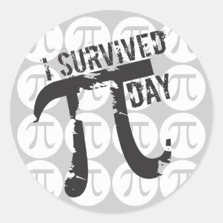 Jag överlevde Pi-dagklistermärkear - rolig Pi Runt Klistermärke
