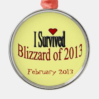 Jag överlevde snöstormen av prydnad 2013 julgransprydnad metall