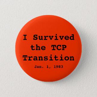 Jag överlevde TCP-övergången, Jan. 1, 1983 Standard Knapp Rund 5.7 Cm