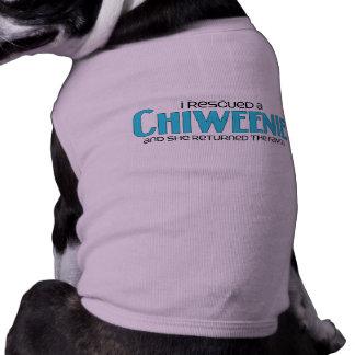 Jag räddade design för Chiweenie (en kvinnlig) Hundtröja
