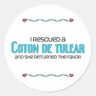 Jag räddade en bomull de Tulear (den kvinnliga Runt Klistermärke