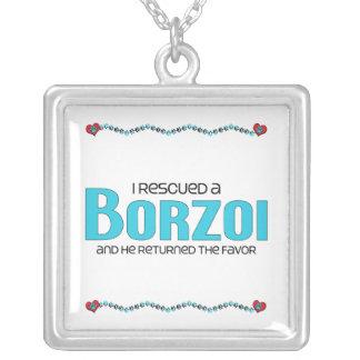 Jag räddade en Borzoi (den Male hunden) Halsband Med Fyrkantigt Hängsmycke