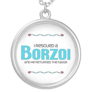 Jag räddade en Borzoi (den Male hunden) Halsband Med Rund Hängsmycke