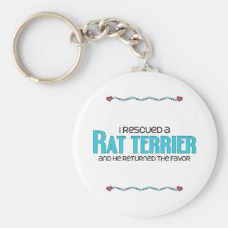 Jag räddade en råttaTerrier (den Male hunden) Rund Nyckelring