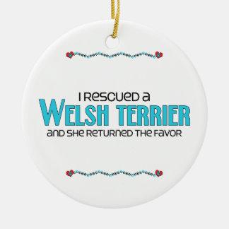 Jag räddade en walesisk Terrier (den kvinnliga Julgransprydnad Keramik