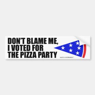 Jag röstade för Pizzapartybildekalet (vit) Bildekal