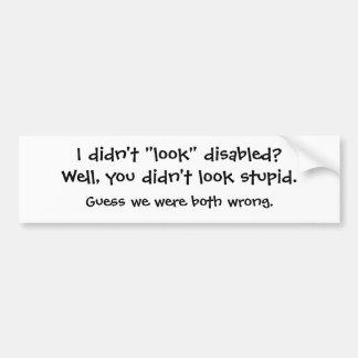 """Jag """"såg inte"""" handikappade personer? bildekal"""