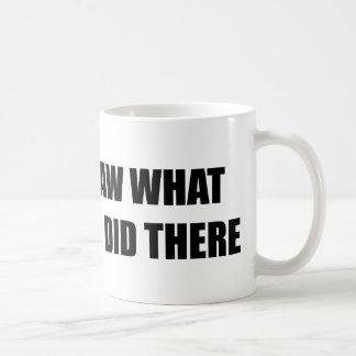 Jag sågar vad du gjorde där kaffemugg
