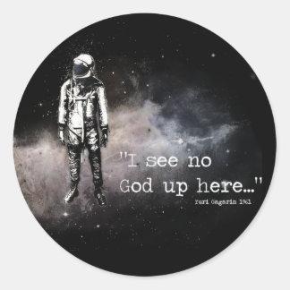 Jag ser upp ingen gud här runt klistermärke