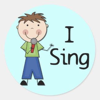 Jag sjunger - Male Tshirts och gåvor Rund Klistermärke