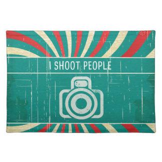 Jag skjuter folk - kamera i retro bakgrund bordstablett