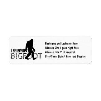Jag tror i Bigfoot roliga Sasquatch Returadress Etikett