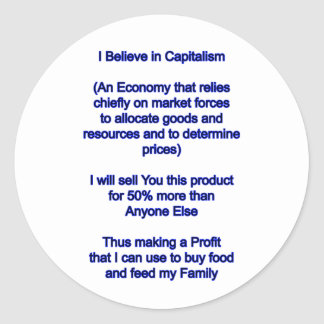 Jag tror i kapitalism de MUSEUMZazzle gåvorna Runt Klistermärke