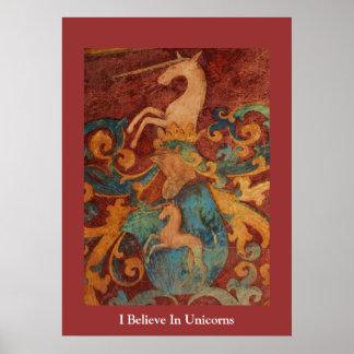 Jag tror i medeltida konst för UnicornsAFFISCH Poster