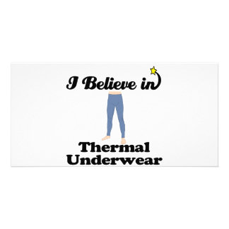 jag tror i termisk underkläder hälsningskort med foto