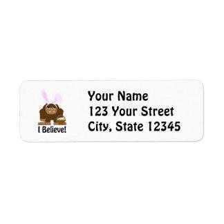 Jag tror! Påsk Bigfoot Returadress Etikett