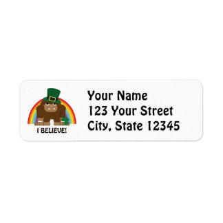 Jag tror! Troll Bigfoot Returadress Etikett