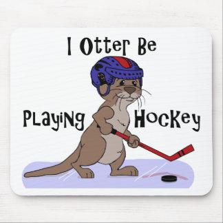 Jag uttern leker hockey musmatta