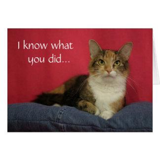 Jag vet vad du gjorde katttackkortet hälsningskort
