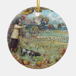 Jaga i höstvintagethanksgiving julgransprydnad keramik