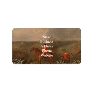 Jaga med hundar och hästberömdoljemålning adressetikett
