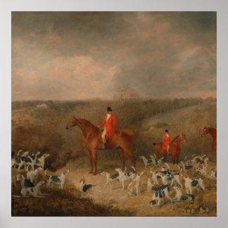 Jaga med hundar och hästberömdoljemålning poster