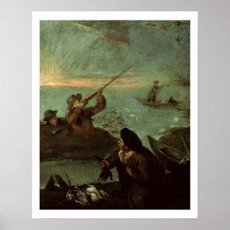 Jägare som skjuter på ankor (olja på kanfas) affischer