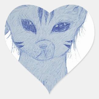 Jama kattungen hjärtformat klistermärke