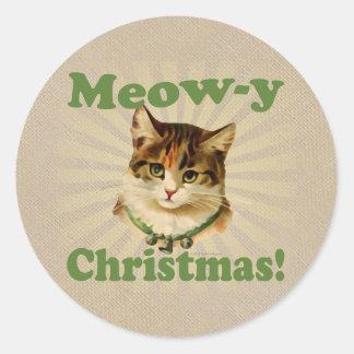 Jama-y jul, gulligt helgdagkattdjur runt klistermärke