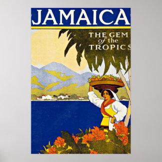 Jamaica karibisk havsvintage resor poster