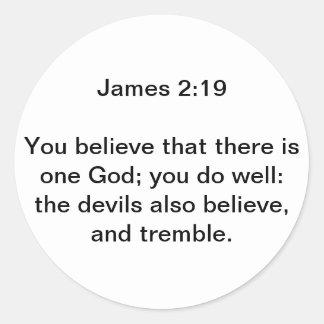 James 2:19 rund klistermärke