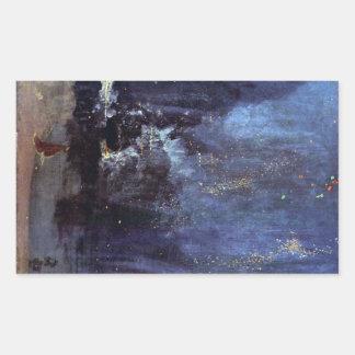 James Abbott McNeill Whistler - natt i svart och Rektangelformat Klistermärke