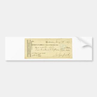James Garfield undertecknade kontrollen från Janua Bildekal